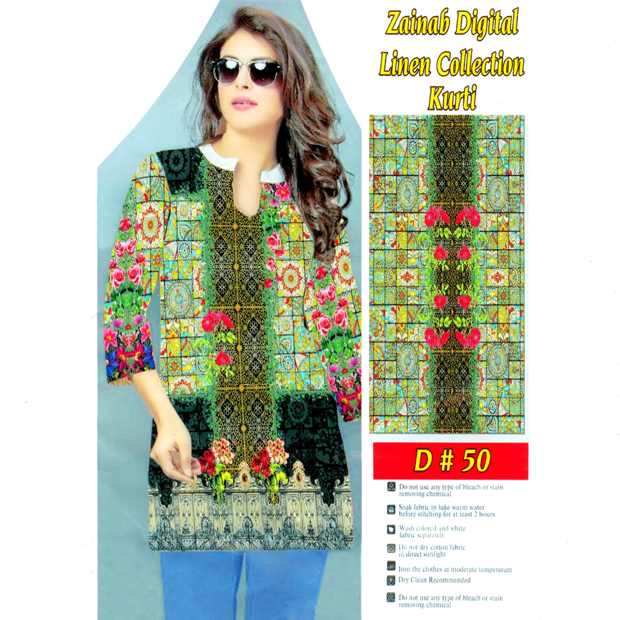 Zainab Digital Linen Collection Kurti For Ladies-BE8383