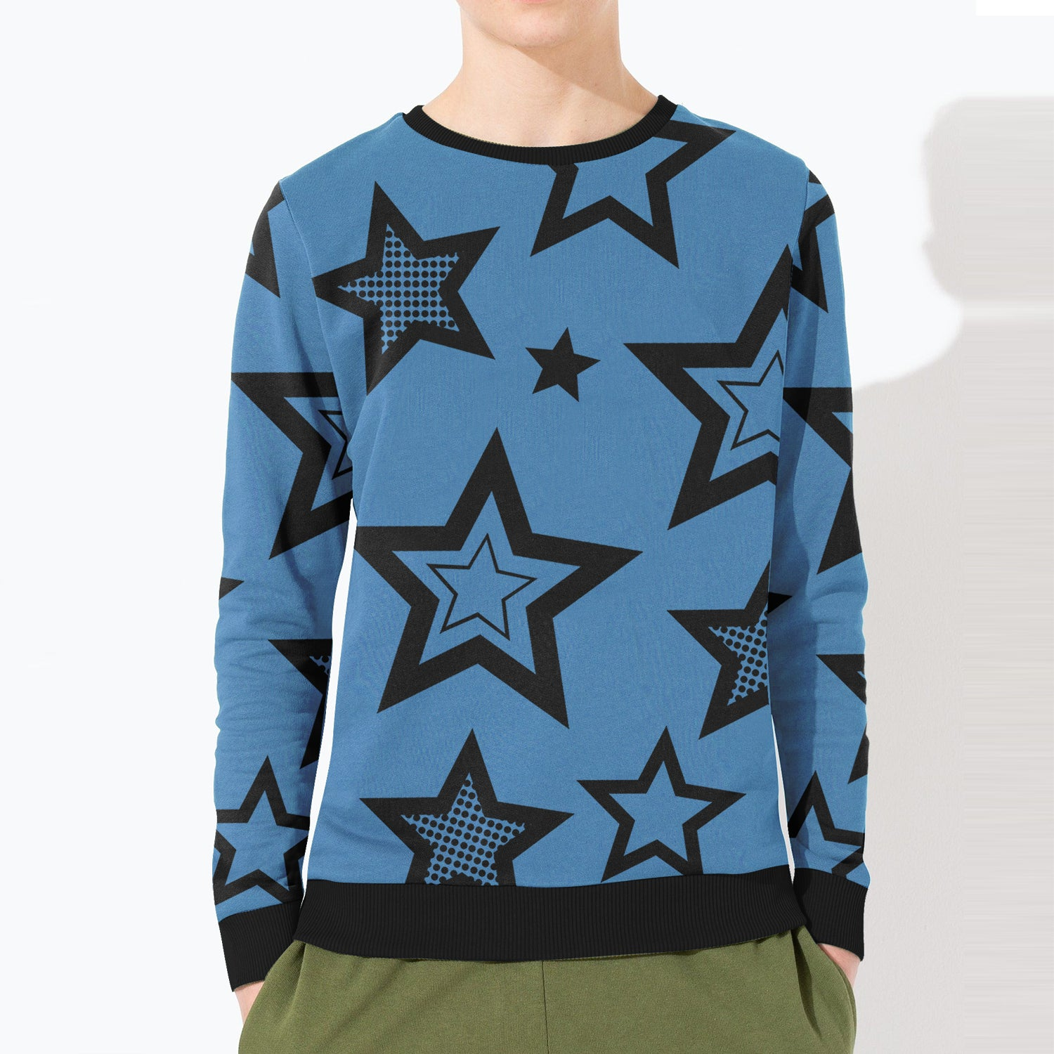 ZBaby Terry Fleece Sweatshirt For Kids-Blue with Stars Print-BE12816
