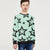 ZBaby Terry Fleece Sweatshirt For Kids-Cyan Green with Stars Print-BE12829