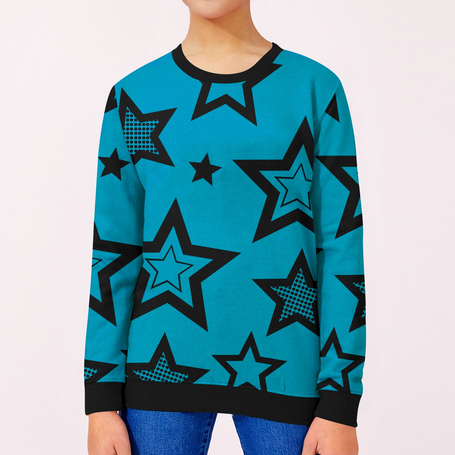 ZBaby Terry Fleece Sweatshirt For Kids-Dark Cyan with Stars Print-BE12821