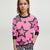 ZBaby Terry Fleece Sweatshirt For Kids-Dark Pink with Stars Print-BE12830