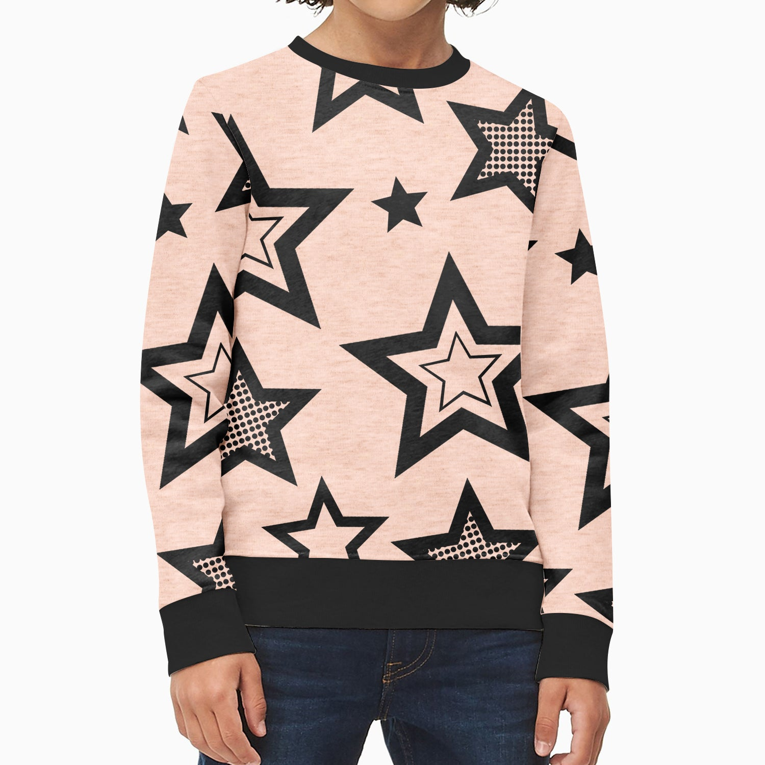 ZBaby Terry Fleece Sweatshirt For Kids-Pink Melange with Stars Print-BE12823