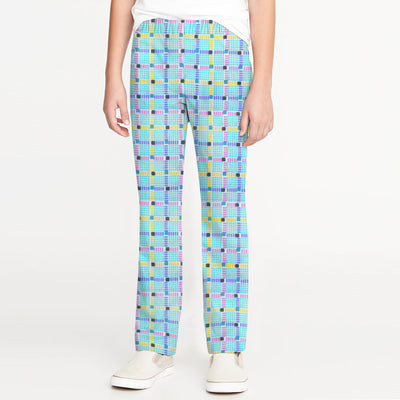 Zara Boy Slim Fit Cotton Trouser For Kids-Checked-BE9848