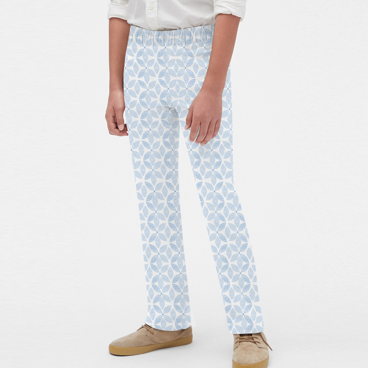 Zara Boy Slim Fit Flannel Trouser For Kids-White with Floral-BE9842