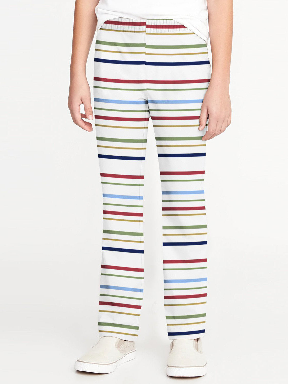 Zara Boy Slim Fit Flannel Trouser For Kids-White with Multi Stripe-BE9850