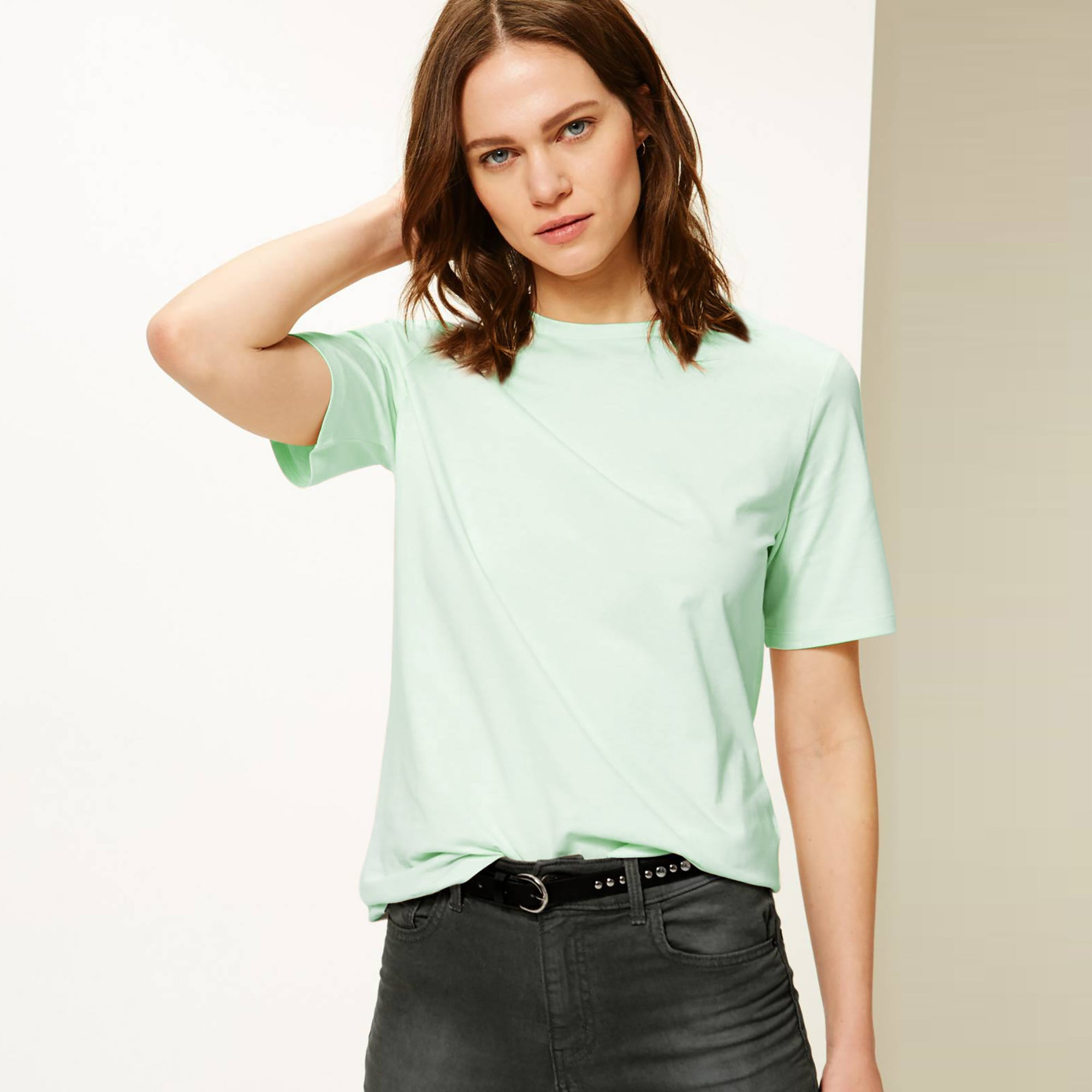 Zara Cut Label Half Sleeve Stylish Viscose Tee Shirt For Women-BE8505