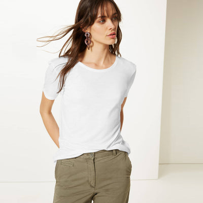 brandsego - Zara Cut Label Half Sleeve Stylish Viscose Tee Shirt For Women-BE8505