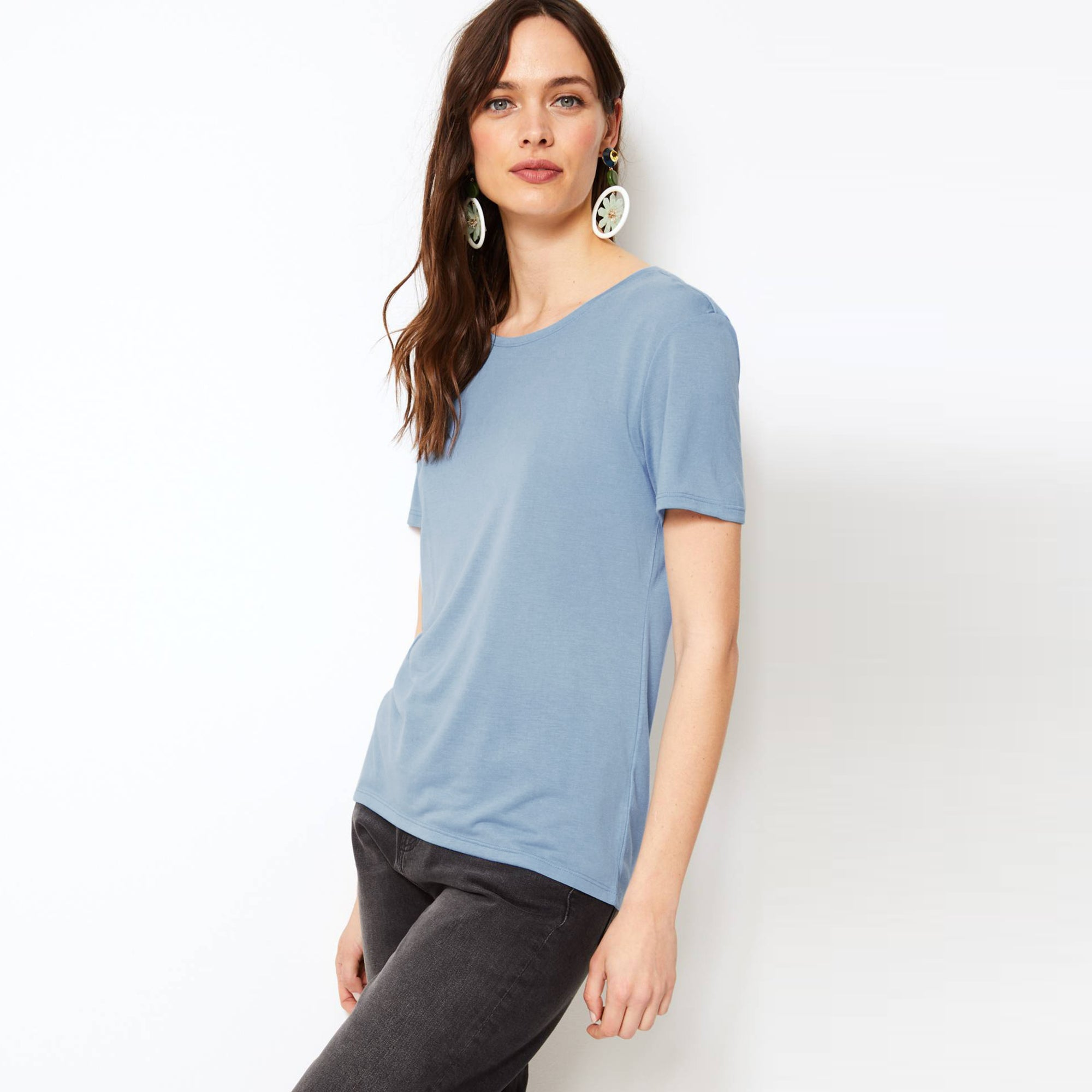 88507b37 Zara Cut Label Half Sleeve Stylish Viscose Tee Shirt For Women-BE8506