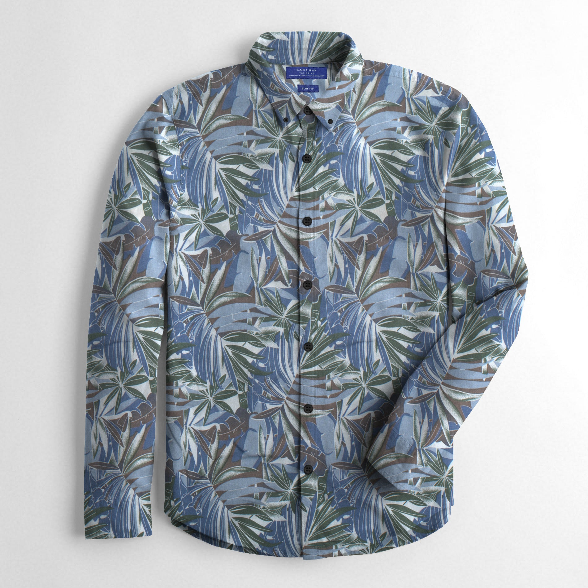 ZM Premium Slim Fit Casual Shirt For Men-Allover Leaf Print-BE12510