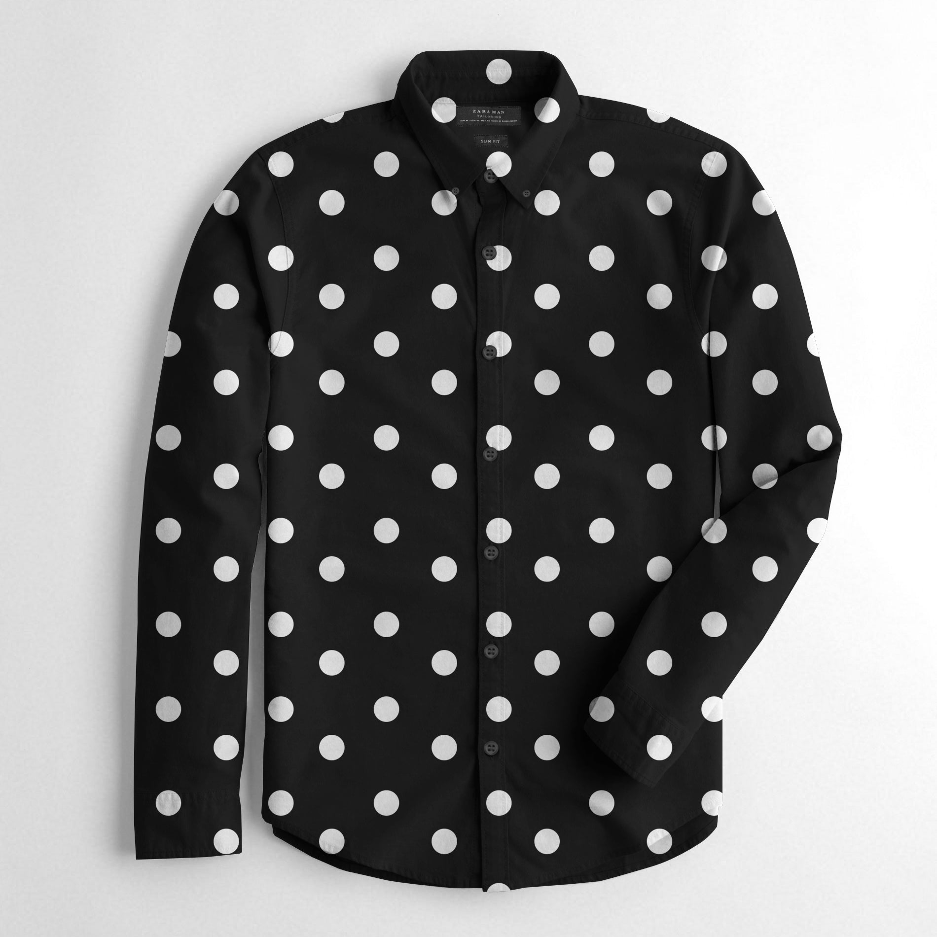ZM Premium Slim Fit Casual Shirt For Men-Black & White Dotted-BE12527