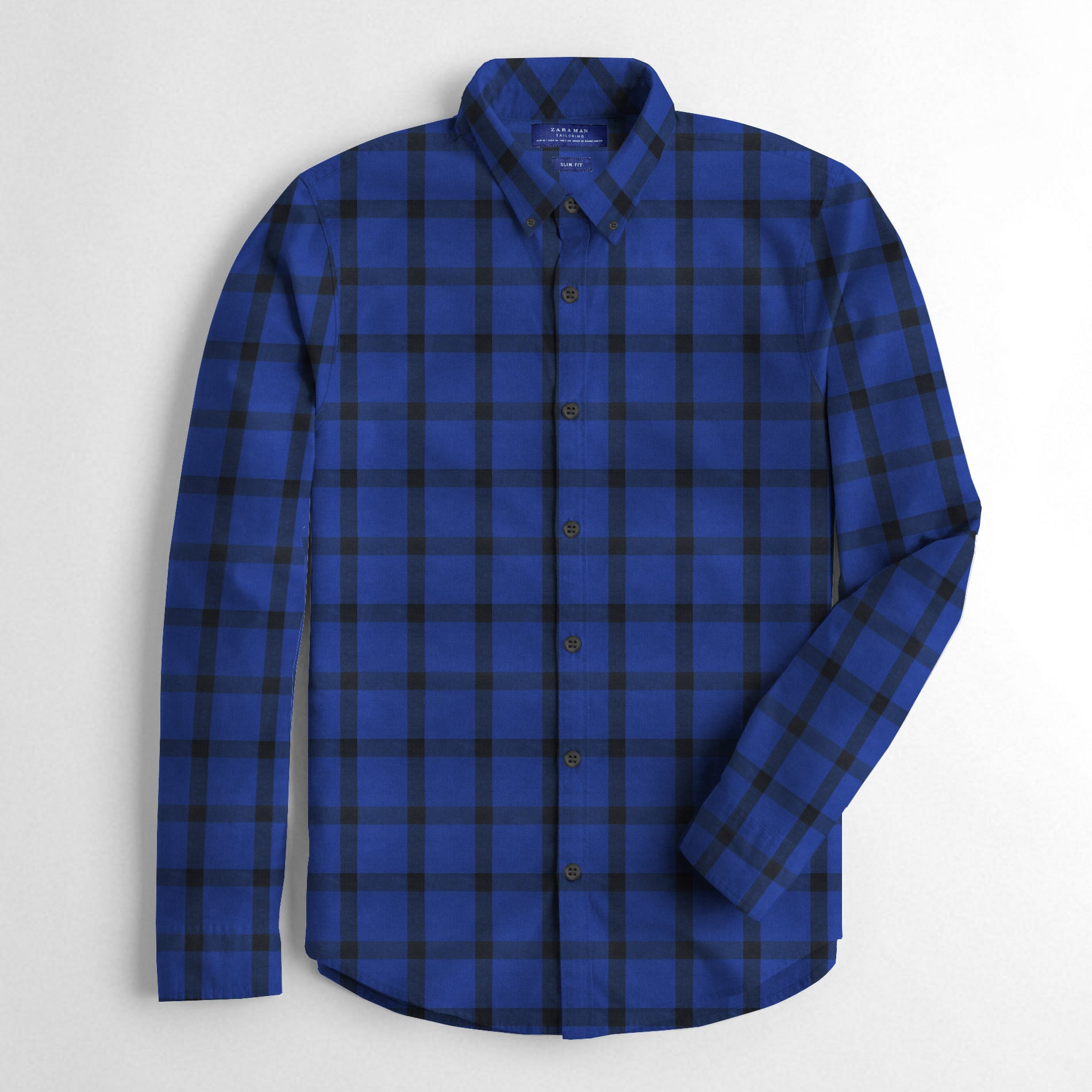 ZM Premium Slim Fit Casual Shirt For Men-Dark Blue Check-BE12533