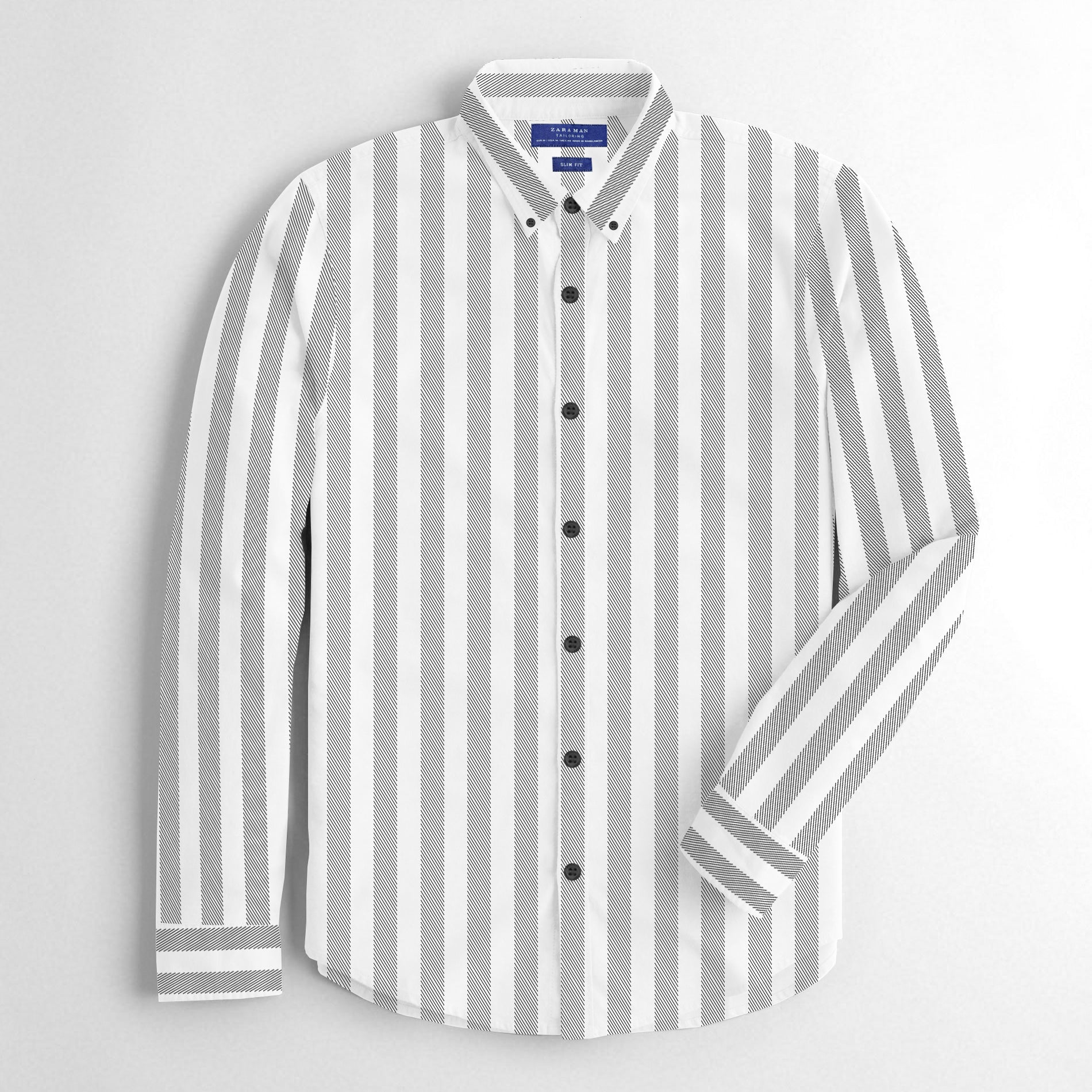 ZM Premium Slim Fit Casual Shirt For Men-White with Black Lining-BE12513