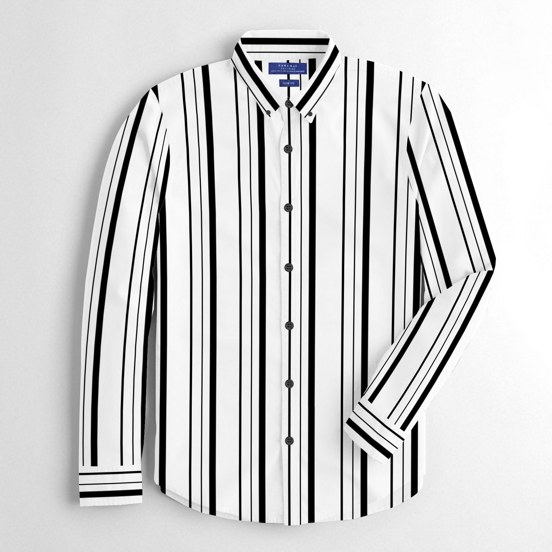 ZM Premium Slim Fit Casual Shirt For Men-White with Black Stripe-BE12526