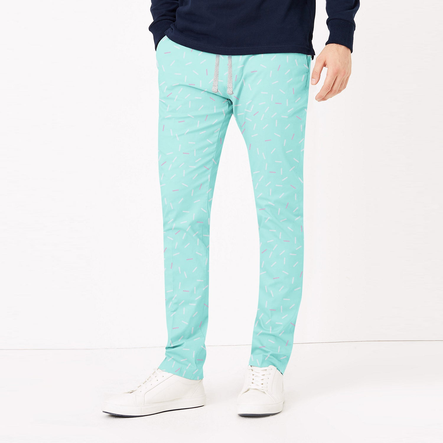 Zara Man Slim Fit Flannel Trouser For Men-Cyan Green with Allover Print-BE9808
