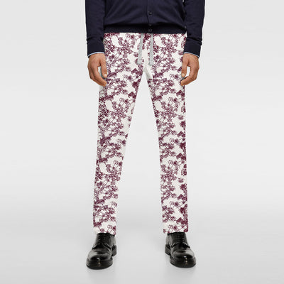 Zara Man Slim Fit Flannel Trouser For Men-Off White with Allover Print-BE9809