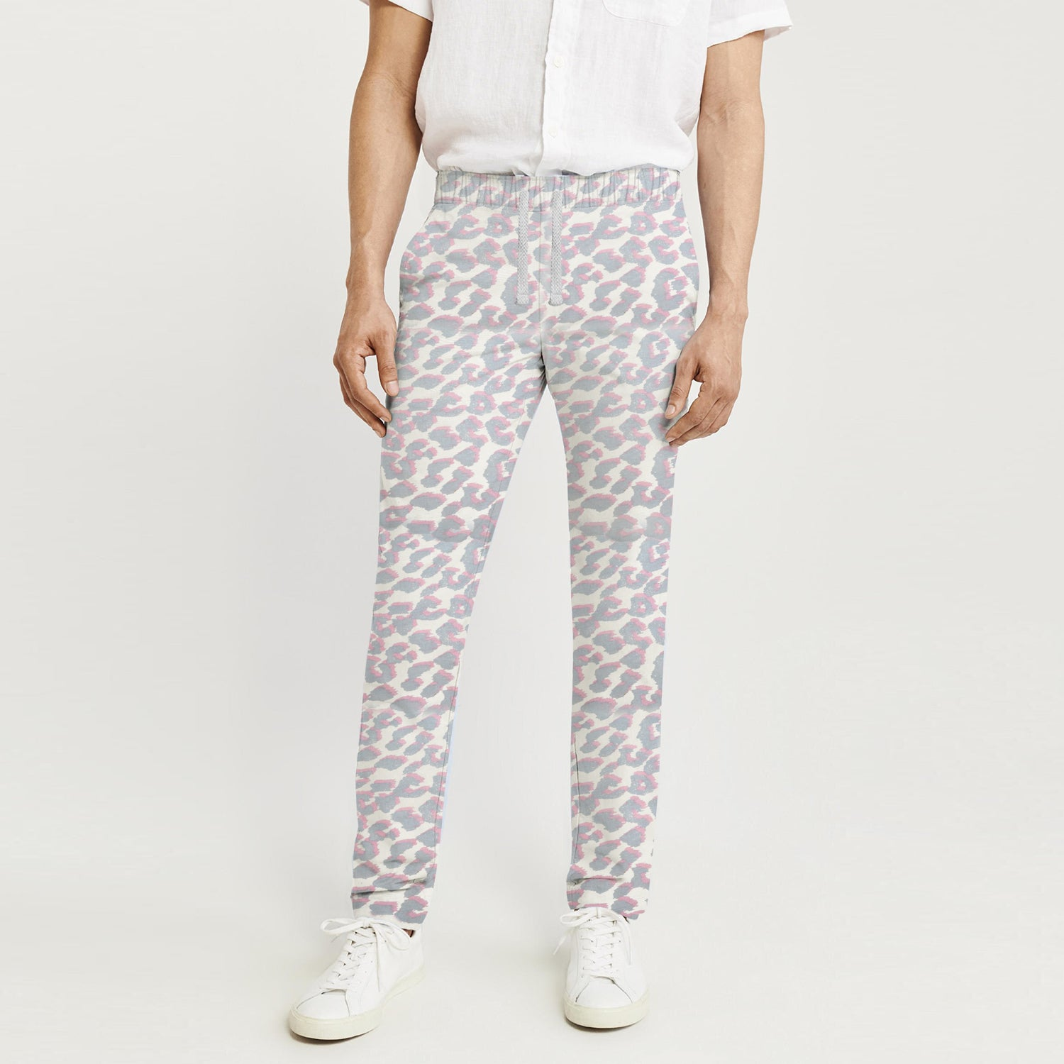 Zara Man Slim Fit Flannel Trouser For Men-Off White with Grey & Pink Print-BE9804