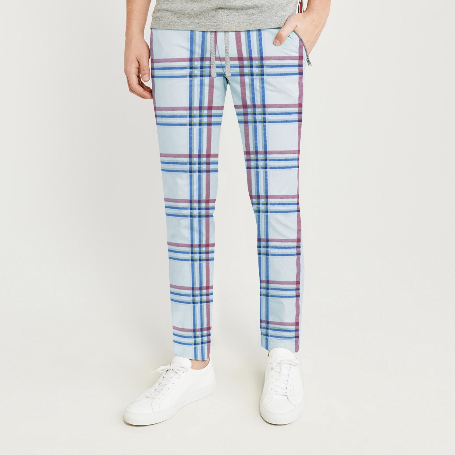 Zara Man Slim Fit Flannel Trouser For Men-Sky with Stripes-BE9807