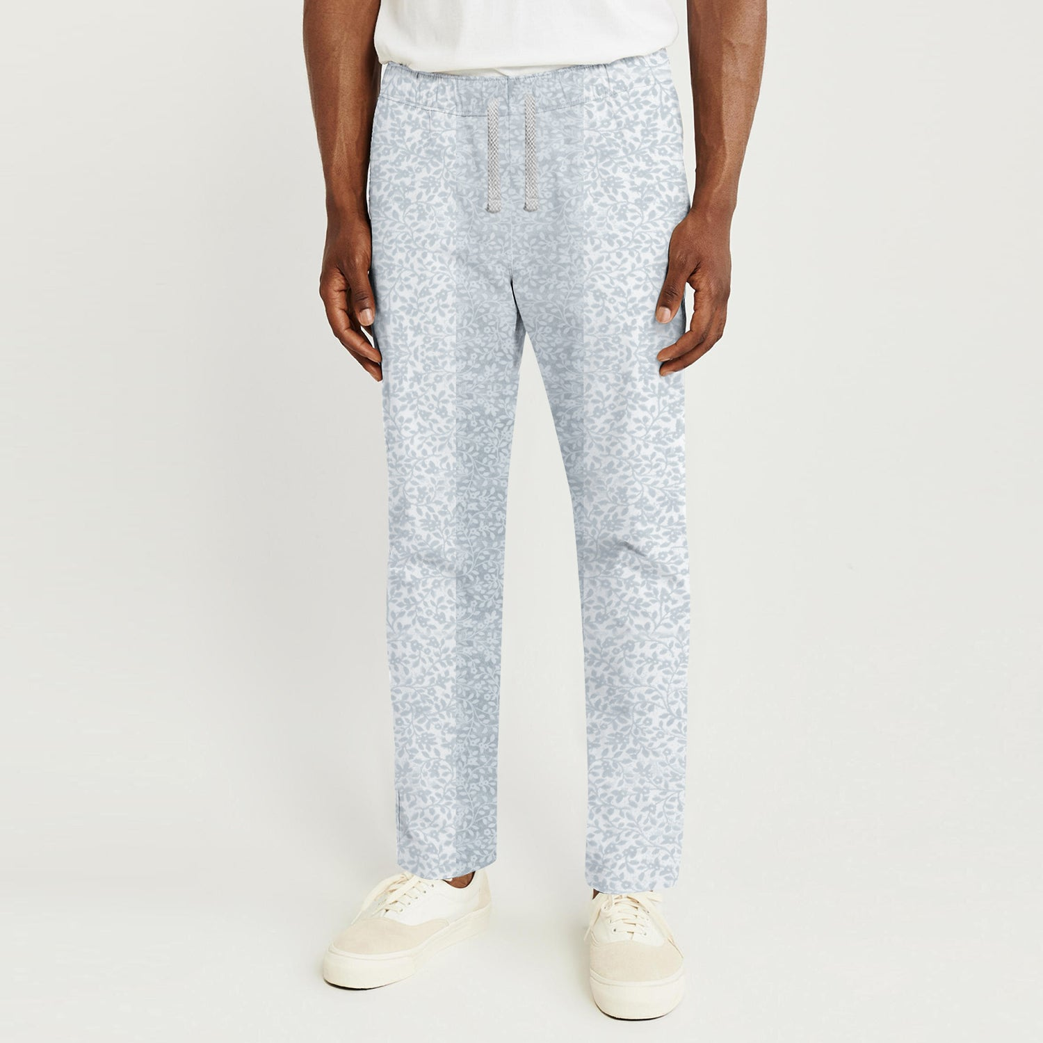 Zara Man Slim Fit Flannel Trouser For Men-White with Floral Print-BE9801