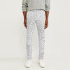 Zara Man Slim Fit Flannel Trouser For Men-White with Grey Print-BE9805