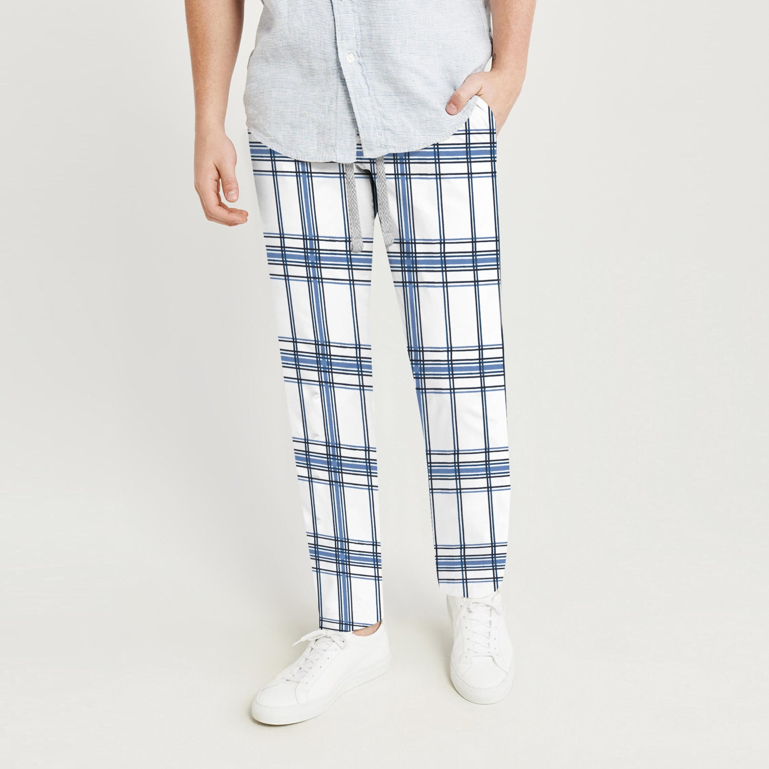 Zara Man Slim Fit Flannel Trouser For Men-White with Navy Lining-BE9803