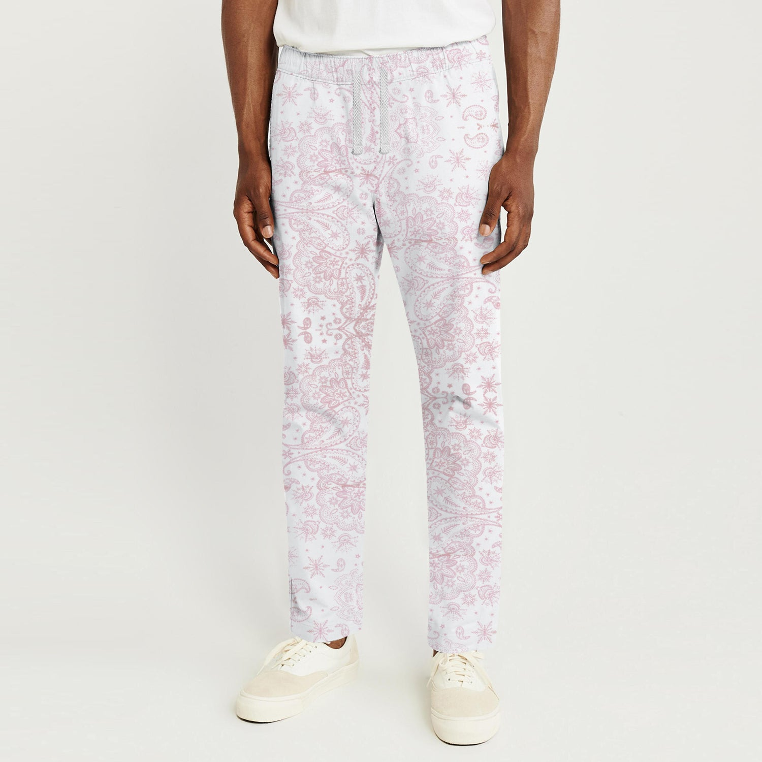 Zara Man Slim Fit Flannel Trouser For Men-White with Pink Floral-BE9812