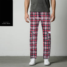 Zara Man 6 Pocket Cotton Check Trouser For Men-Black & Red-BE2440