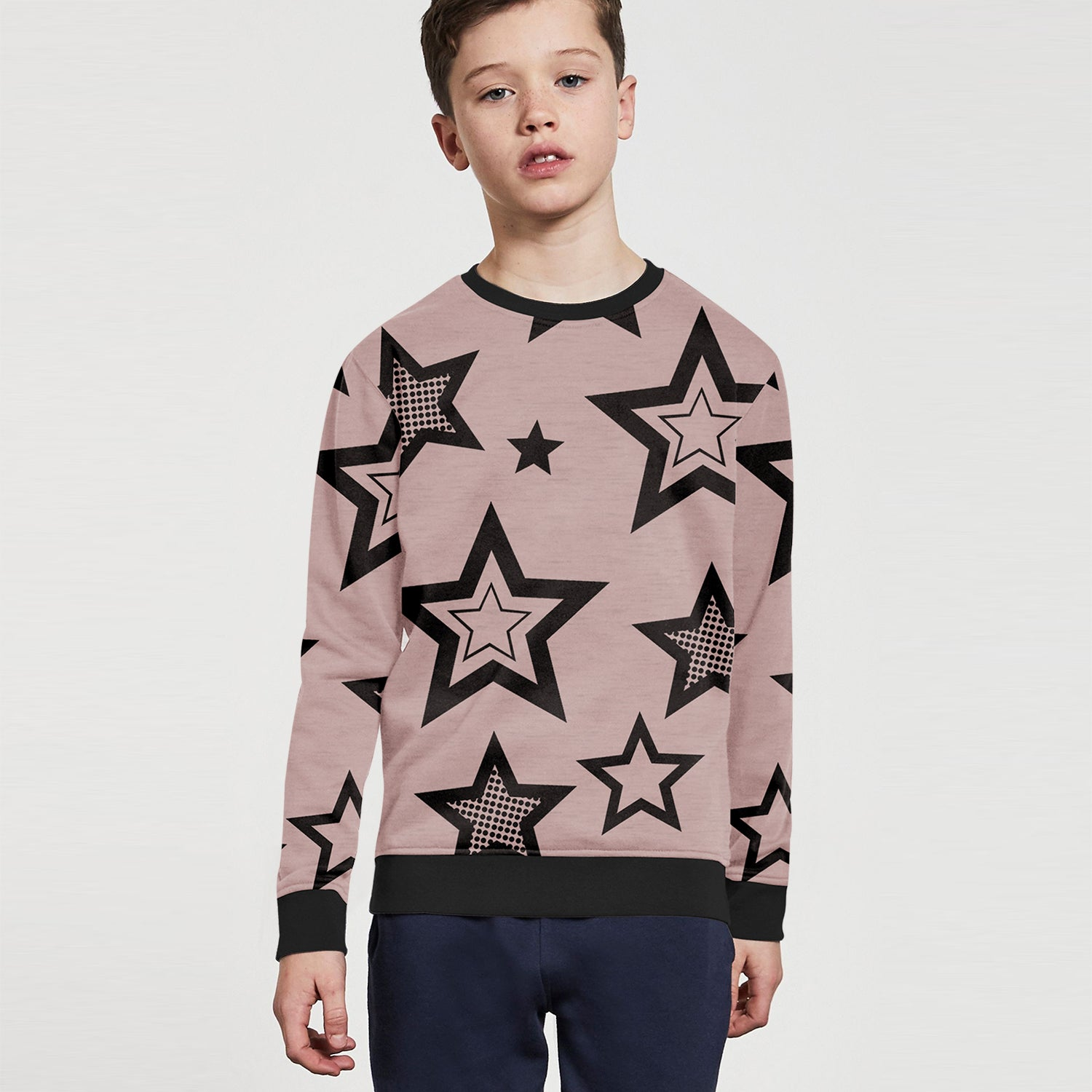 ZBaby Terry Fleece Sweatshirt For Kids-Pink Melange with Allover Stars Print-BE12829