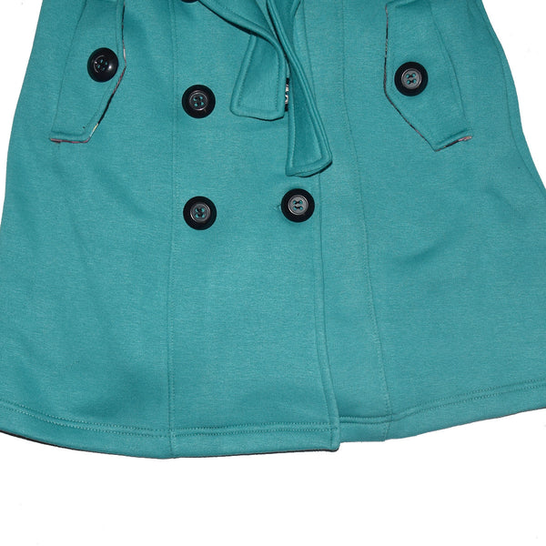 "Ladies ""Jeager"" Fleece Belted Trench Coat-Sea Green"