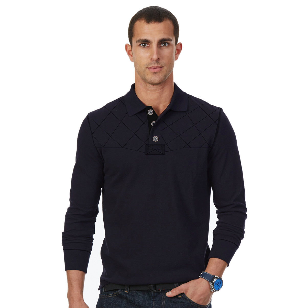 Boston Crew Rugby Polo for Men Cut Label-Rosy Navy Melange-(SS114)
