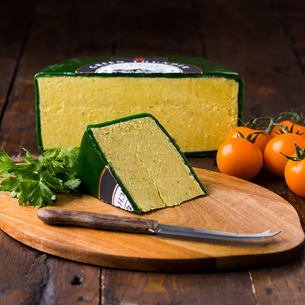 'Green Thunder' Mature Cheddar with Garlic & Herbs by Snowdonia Cheese Company
