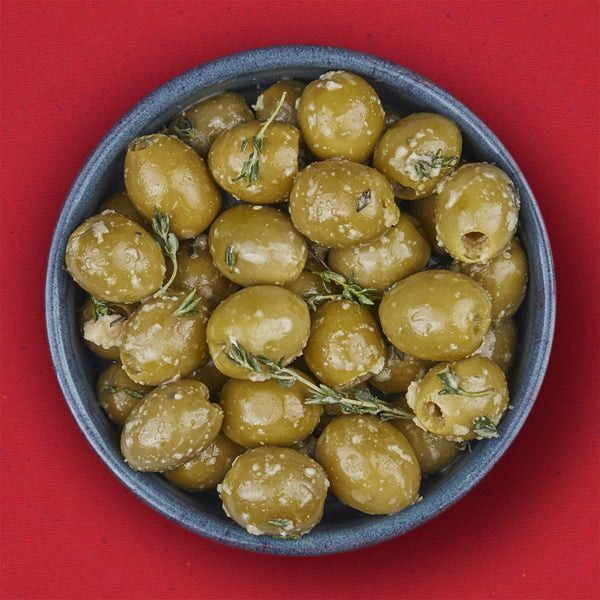 Green Olives Laced With Garlic And Thyme