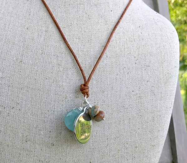 Mountain Girl, Amazonite and Aqua Terra Jasper Adjustable Leather Charm Necklace
