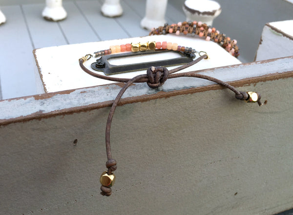 Coral Peach and Brown Adjustable Beaded Leather Bracelet