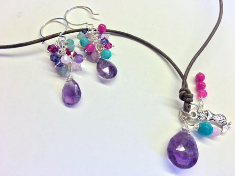 Amethyst and Jade Cluster Earrings, purple aqua and pink Jade, February Birthstone earrings