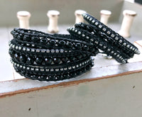 All Black Beaded Boho Agate Macrame Bracelet