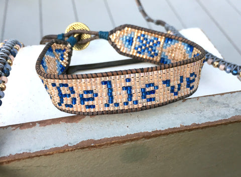 Blue and Peach Loom Woven Boho Believe Bracelet