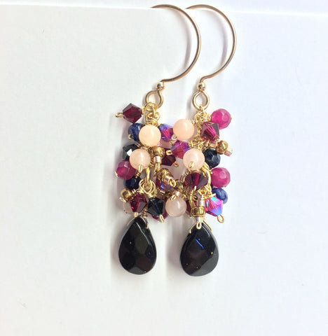 Navy Blue Goldstone and Pink Jade Cluster Teardrop Earrings