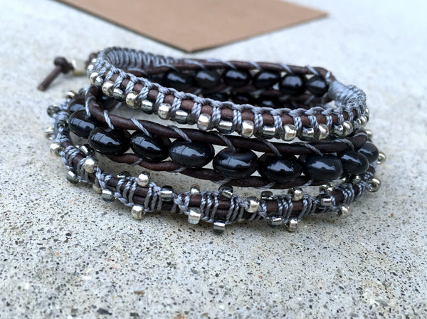 Black Onyx 3x wrap bracelet with Macrame accents