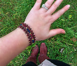 Maroon Navy Gold  Pink Jade and Blue Goldstone Gemstone and Macrame 3 Wrap Bracelet
