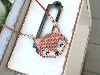 Boho Fox Beaded Necklace on Adjustable Leather Cord