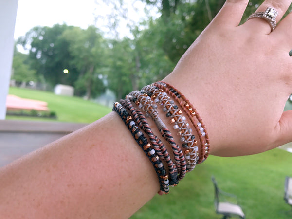 Navy, Copper, Blush, Gray Beaded Macrame 5 Wrap Boho Yoga Bracelet