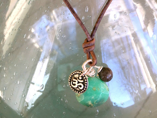 Chysopyrite Ohm Charm boho Leather Adjustable Necklace