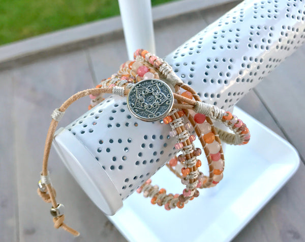 Coral and Peach Jade Gemstone Macrame 3 Wrap Bracelet