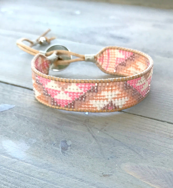Coral Peach Tribal Chevron Loom Woven Bracelet. Woven Friendship Bracelet