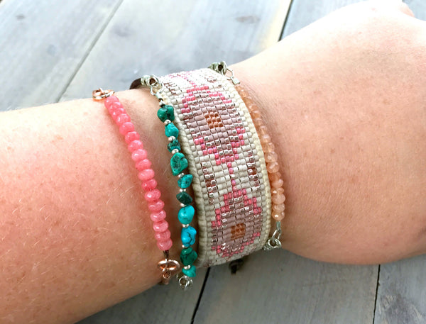 Peach and Coral Southwestern Style Bead Loom Woven Cuff Bracelet