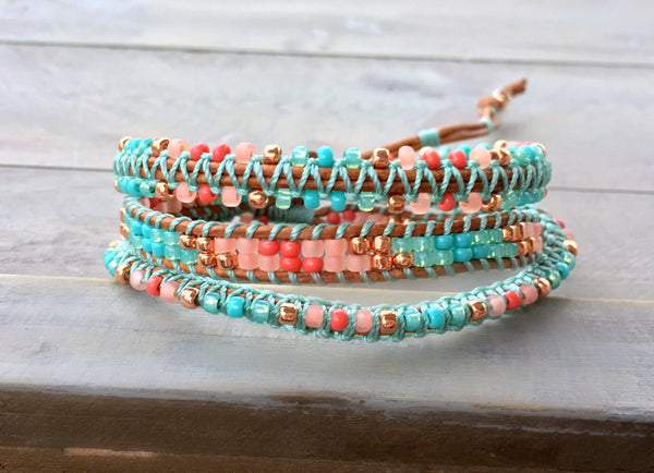 Coral, Teal, and Copper 3x Macrame Boho Wrap Bracelet