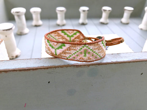 Tribal Pattern Loom Bracelet in Olive, Peach, Blush and Gold