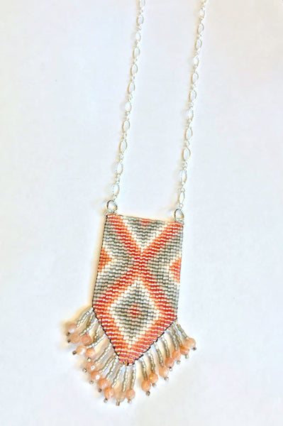 Coral Peach and Gray Diamond Tassel Necklace with Sunstone and Silver Chain