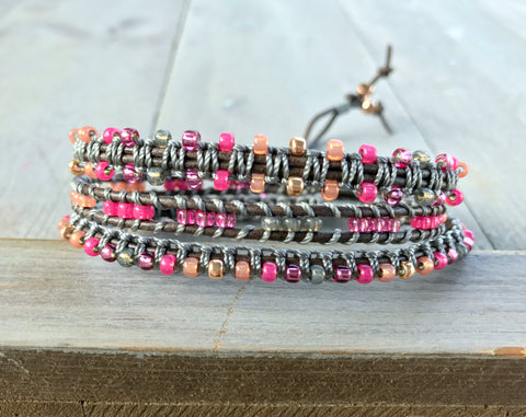 Hot Pink Gray and Rose Gold Beaded Macrame 3 Wrap Bracelet