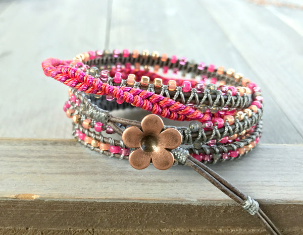 Hot Pink Faded Gray and Rose Gold 5x Macrame Wrap Bracelet